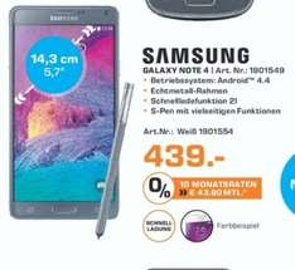 [Saturn] Samsung Galaxy Note 4, 32 GB,.5.7 Zoll, 3G Unterstützung, LTE in Schwarz oder Weiß ab 434,-€