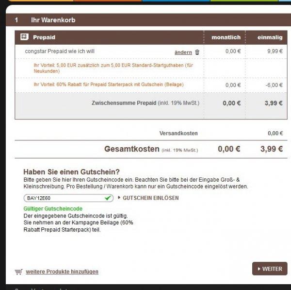 Congstar Prepaid Karte über Qipu dank 10 EUR Cashback kostenlos