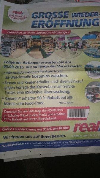 Gratis Auto waschen  in den SB Waschboxen (Real Gelsenkirchen)