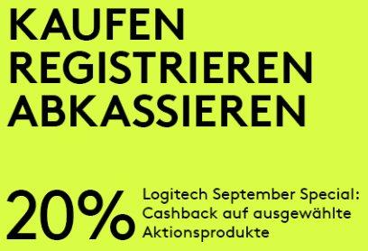 20% Cashback auf Logitech Produkte nach dem Kauf - bei Kauf bis Ende September *UPDATE* Logitech MX Master für effektiv 46€