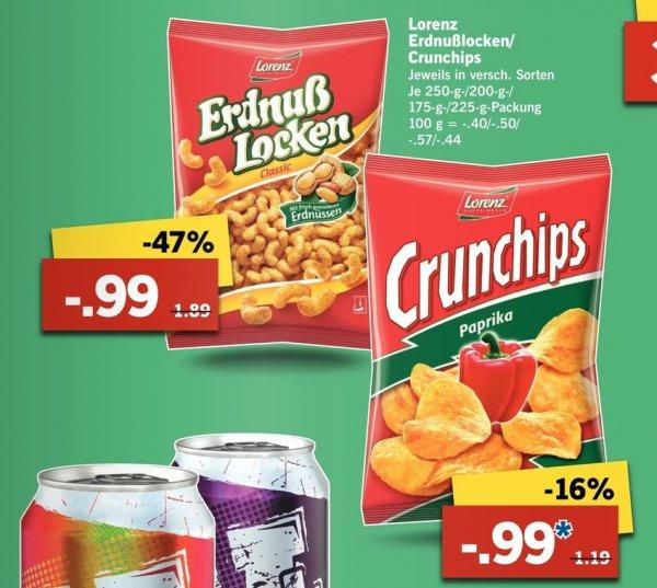 [Lidl Bundesweit] Lorenz Crunchips oder Lorenz Erdnuss Locken je Tüte 0,99 Cent vom 10.09 - 12.09