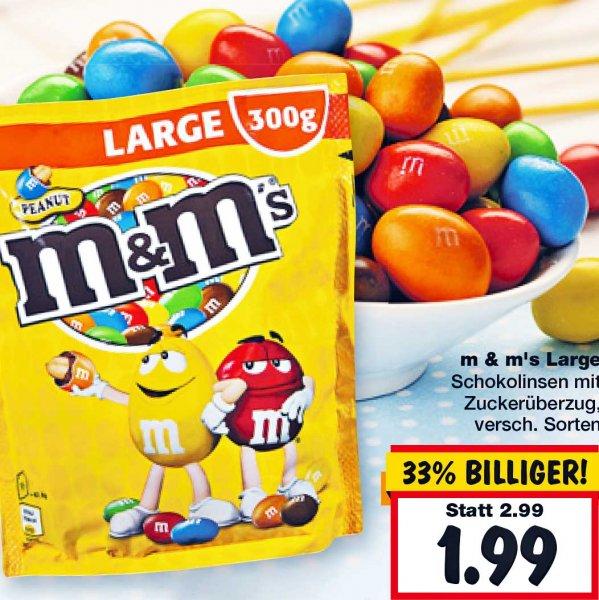 M&M's LARGE je (300g/255g) Beutel statt 2,99€ für nur 1,99 bei [Kaufland]