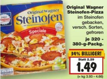 [KAUFLAND] KW37: Wagner Steinofen Pizza versch. Sorten 320-380g für 1,49€ (außer BY/BW)