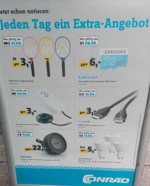 [Lokal/Bundesweit] 07.09.- 12.09 – Jeden Tag ein Extra-Angebot in den Conrad Filialen (3€ bis 22€)
