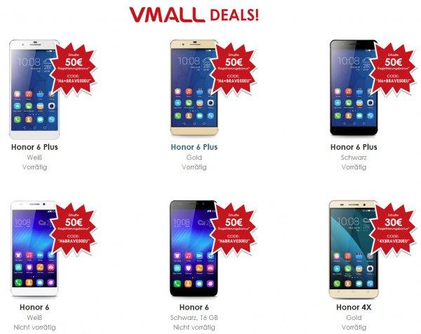 Huawei Honor 4X/6/6+ Smartphones mit bis zu 50€ Rabatt