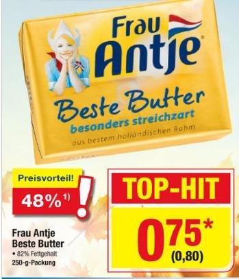 Frau Antje Beste Butter für 0,80 € brutto (0,75 € netto) @ Metro (10.09. - 16.09.)