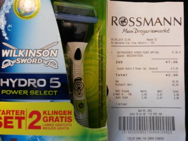 Wilkinson Hydro5 Power Select Starterset mit 3 Klingen statt 9,99 € (Rossmann)