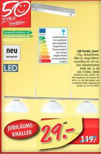 "[Porta] LED Pendelleuchte ""Trave"" mit Leuchtmitteln"