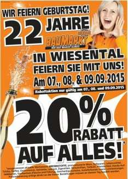 [Baumarkt Globus Wiesental]   20% Rabatt-Aktion vom 7.09. bis 9.09.2015