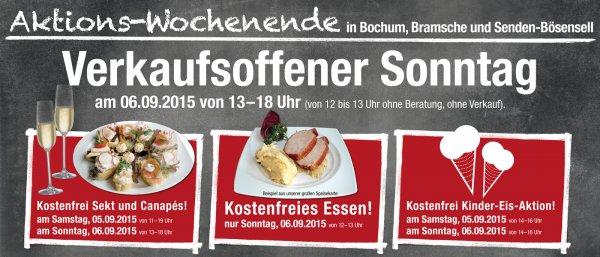 05.-06.09.2015: Aktionswochenende / Kostenfreies Essen in Bochum, Bramsche und Senden: