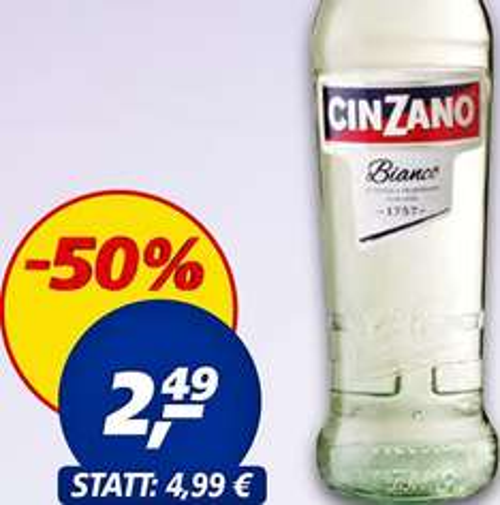 Cinzano Weinaperitif Bianco, 50% Rabatt, nur 2,49€ bei [Real]