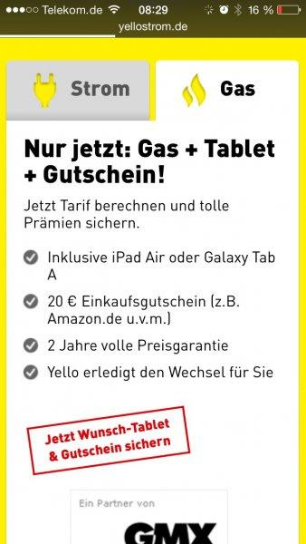 iPad Air beim Wechsel zu Yello Strom