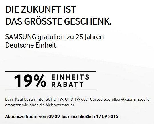 Samsung 19% Einheitsrabatt vom 09.09. bis 12.09.2015