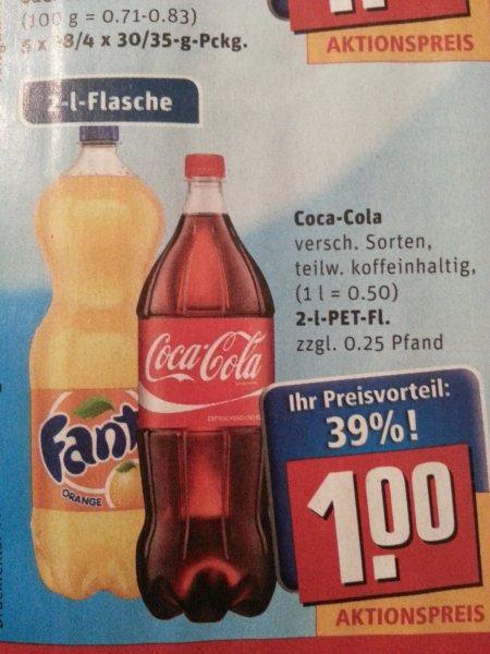 2 Liter Cola verschiedene Sorten @ Rewe (bundesweit) für 1 €