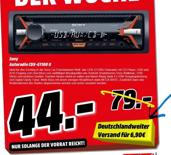 [Mediamarkt Porta Westfalica Bundesweit] Sony CDX-G1100U CD-Autoradio, Aux-Eingang, USB, MP3 für 44,-€.Bundesweiter Versand für 6,90€=50,90€