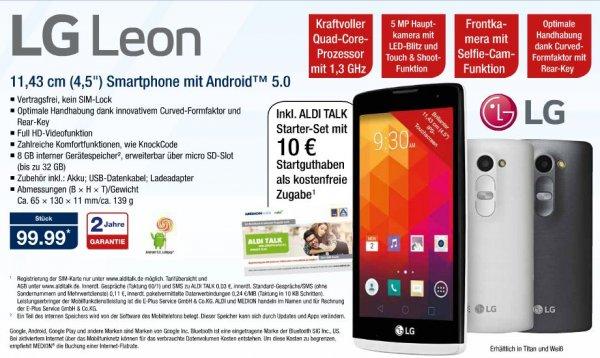 [Aldi Nord ab 17.9.] LG Leon 4,5'' Smartphone Android 5 (Idealo ca. 122€)