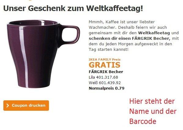 [Dortmund] Gratis FÄRGRIK Becher bei Ikea für Family Mitglieder