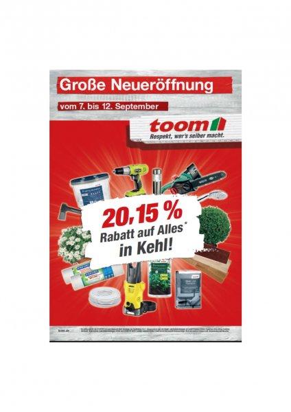 [lokal]: 20,15 % Rabatt bei Toom in Kehl - Sundheim zur Neueröffnung sowie interessante Tagesangebote