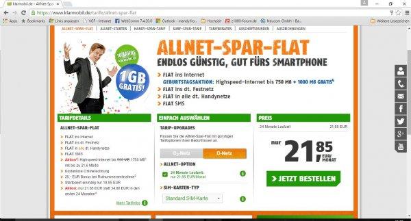Klarmobil Allnet-Flat im D-Netz monatlich 21,85 Euro/24 Monate