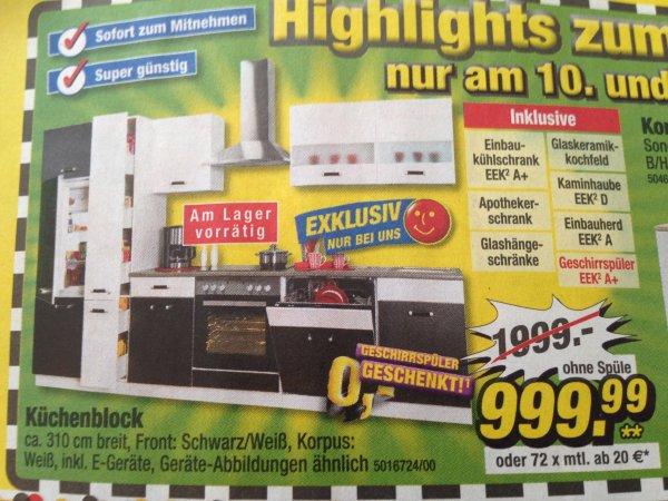 Einbauküche - 310cm, inkl. Apothekerschrank, Kühlschrank, Abzugshaube, Herd mit Ceranfeld und Geschirrspüler - 999,99€ @ Poco [nur 11./12.09]