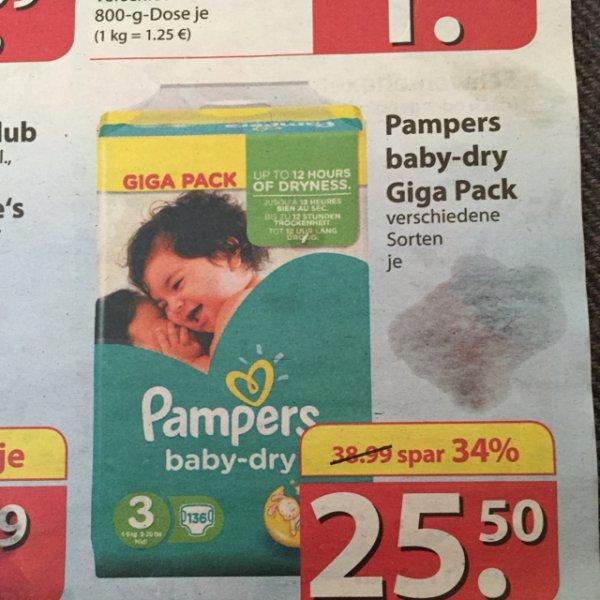 Pampers Baby-dry Giga Pack mit Gutschein