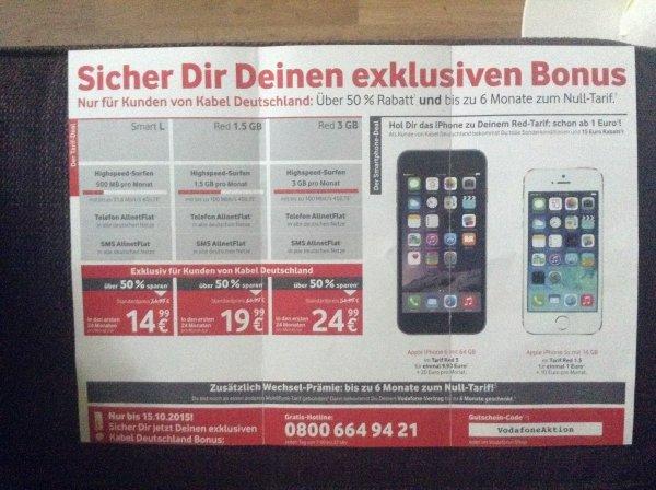 Ab 1045€ Vodafone Red 3gb mit iPhone 6 64gb Angebote für Kabel-Deutschlandkunden