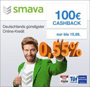Neukunden: Kredit mit Gewinn @ SMAVA - 1500€ für 36 Monate mit 0,55% Zinsen und 100€ Cashback (Qipu)
