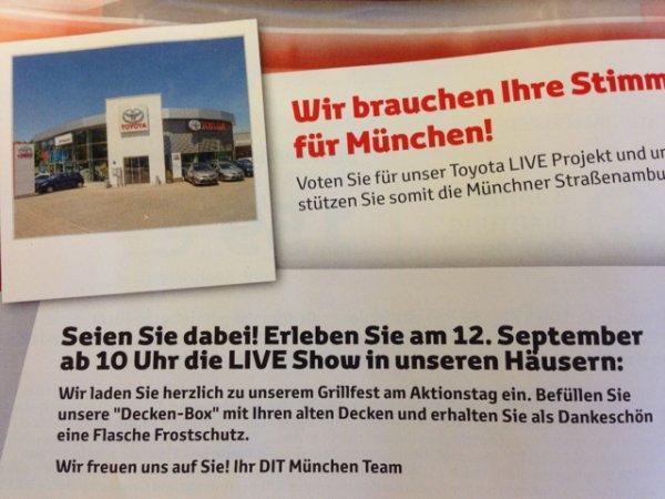 [Lokal München] Kostenlose Flasche Frostschutz gegen Deckenspende am 12.09.