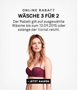 [H&M] 3 für 2 auf ausgewählte Damenwäsche, VSK: 4,90€