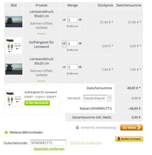 MeinFoto.de Leinwand 90x60cm incl. 12€ Restguthaben auf alles einlösbar! (z.B. 30x20 Leinwand, Aufhängeset,...)