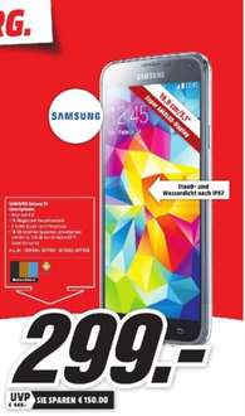 [Lokal Mediamärkte Hamburg] Samsung Galaxy S5 in allen Farben für 299.-€