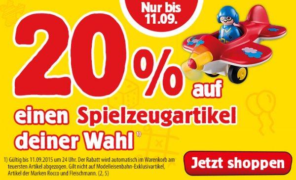 [Spiele Max online] 20% auf einen Spielzeugartikel bis 11.09. OHNE Mindestwert (z.B. LEGO zum Bestpreis)