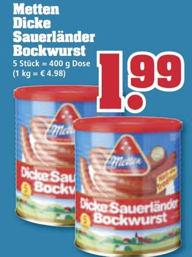 [Offline] Metten - Dicke Sauerländer Bockwurst bei Trinkgut