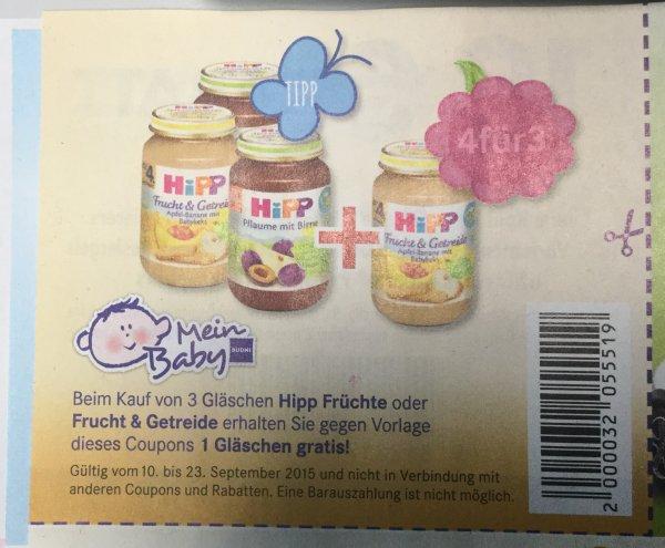 """[Budnikowski] vom 10.9-23.9  """"Hipp Früchte oder Getreide """" 3stk kaufen+ 1 kostenlos"""