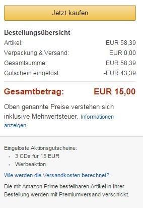[Amazon] 3 CDs für 15€ (Auswahl aus 8000+ CDs)
