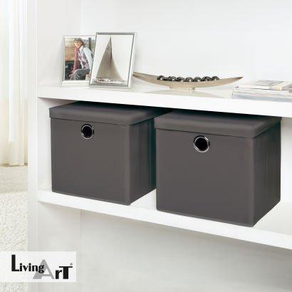 [ALDI Nord] LIVING ART® Aufbewahrungsboxen, 2er-Set, Farben: Anthrazit, weiß oder bedruckt