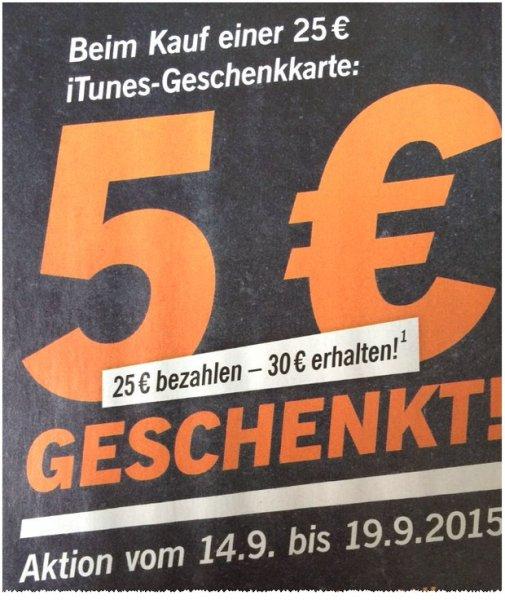 iTunes Karten 25€ + 5€ extra ab 14.9.2015
