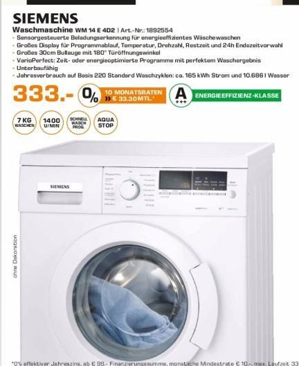 (Lokal Berlin-Brandenburg) Siemens WM14E4D2 Waschmaschine für 333€