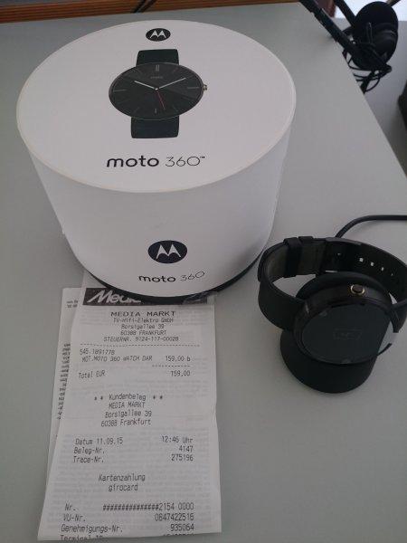 [Lokal] Mediamarkt Ffm-Borsigallee - Smartwatch Moto 360 Dark, schwarzes Lederarmband