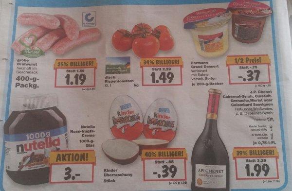 Ü-Ei Kinder Überraschung 39ct, 1kg Nutella für 3 Euro @ Kaufland Baden Württemberg 17-19.09.15