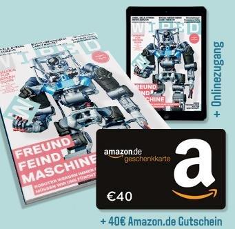 Wired Magazin Jahresabo + 40€ Amazon Gutschein für 45€