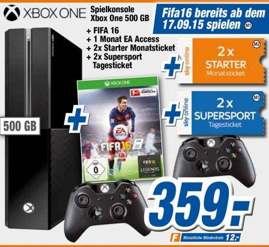 [Offline Expert-Technikmärkte] XboxOne,500 GB + 2 Controller +FIFA 16 + 2xSky Starter Monats Ticket + 2xSKY Supersport Tagesticket für 359,-€