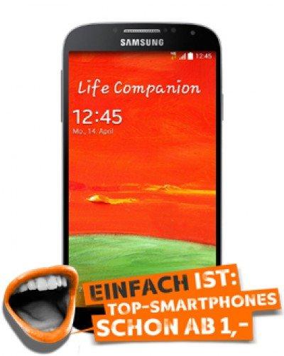 Samsung Galaxy S4 für 1€ einm. im Simyo All On L mit 3 GB für 16,90€ mtl. (24 M)