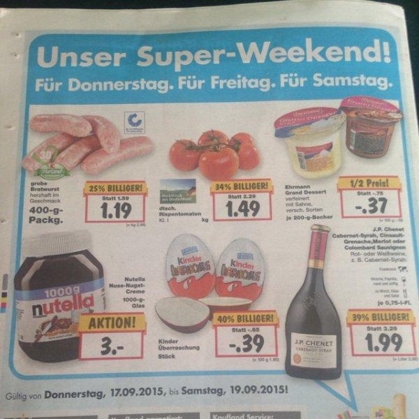 [lokal Nürnberg] Nutella 1kg im Kaufland vom 17.9-19.9