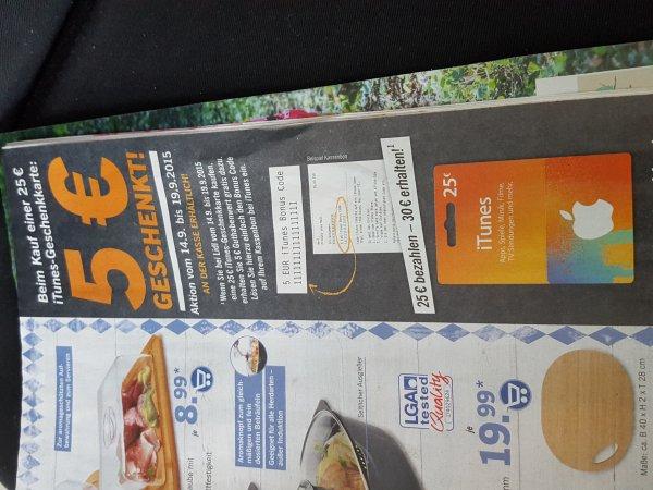 30€ Itunes-Geschenkkarte für 25 € bei LIDL