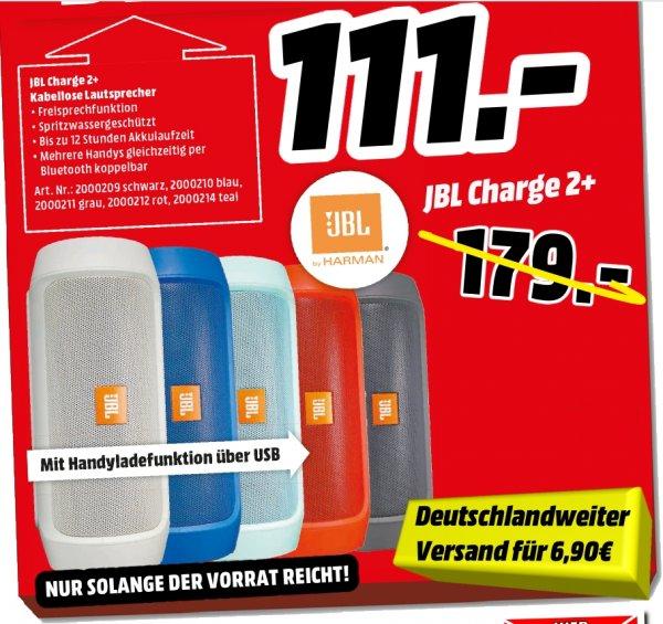 [Mediamarkt Porta Westfalica Bundesweit] JBL Charge 2+ / Portabler Bluetooth Lautsprecher alle Farben für je 111,-€ oder Deutschlandweiter Versand für 117,90€