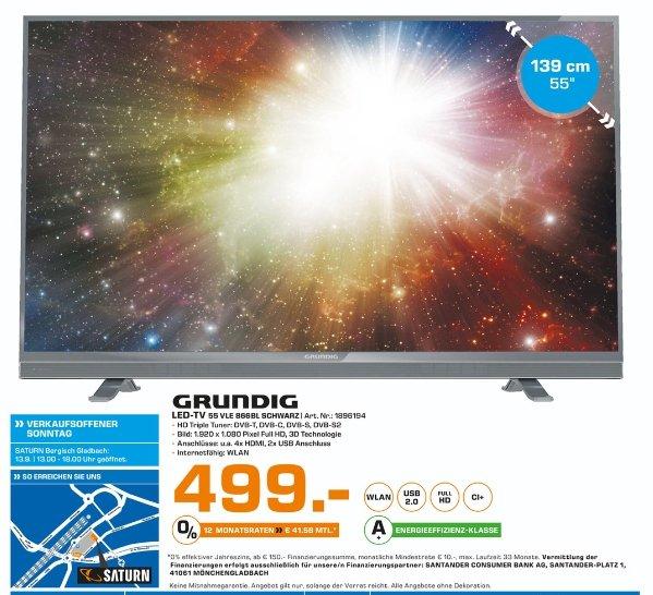 [Lokal Saturn Bergisch Gladbach] Grundig 55VLE866BL,Schwarz, Full-HD, 3D-LED TV EEK.: A+ für 499,-€ Nur gültig am 13.09