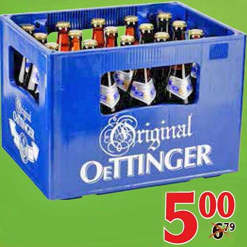 Kasten Oettinger 20 x 0,5l Pils/Export/Radler für 5,00 € zum Teil sogar nur 4,80 € [Globus]