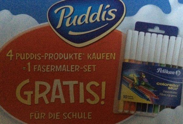 4 Puddis-Produkte kaufen = 1 Fasermaler-Set gratis