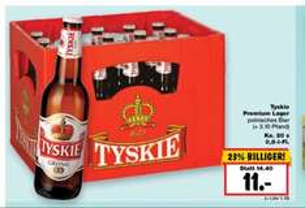 Kasten Tyskie Pils | 20 x 0,5l für 11,00 € [Kaufland]